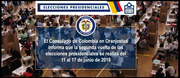 Consulado de Colombia en Oranjestad informa que la segunda vuelta de las elecciones presidenciales se realiza del 11 al 17 de junio de 2018