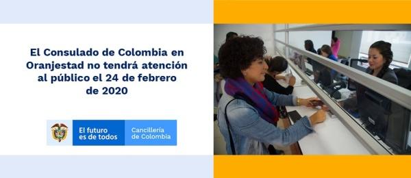 Consulado de Colombia en Oranjestad no tendrá atención al público el 24 de febrero