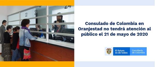 Consulado de Colombia en Oranjestad no tendrá atención al público el 21 de mayo de 2020